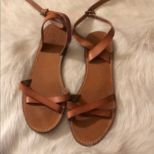 J crew leather strapped sandals